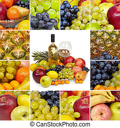 Wine and tropical fruits - square collage - Wine, glass and...