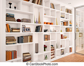 3d illustration of White shelves in the interior with various objects
