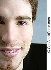 smile closeup crop face young male portrait
