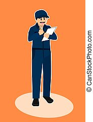 car mechanic repairman inspector vector cartoon