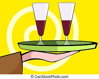goblet - Illustration of liquor bottle and goblet of wine