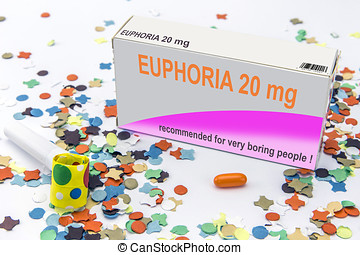 Open medicine packet labelled euphoria opened at one end to...