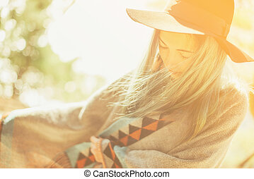 Boho style smiling woman - Attractive fashionable girl in a...