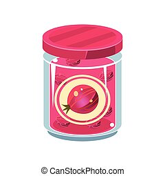 Gooseberry Jam In Transparent Jar Isolated Flat Vector Icon...