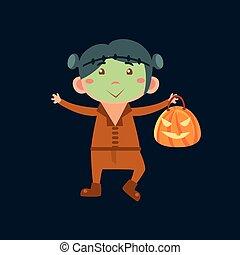 Boy In Frankenstein Haloween Disguise Funny Flat Vector...