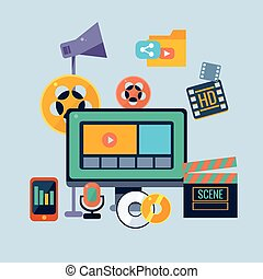 Film Production Icons Set Flat Colorful Vector Drawing On...
