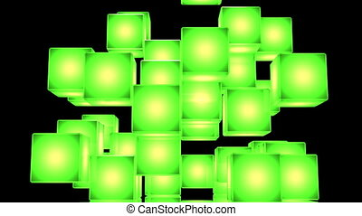 Green Shining Cube Abstract On Black Background. Abstract...