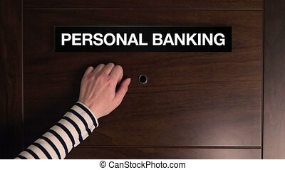 Personal banking concept, woman knocking on financial...