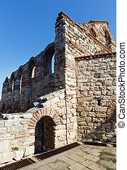 Bulgaria Wall of Old Nessebar - Ruins of the wall around the...