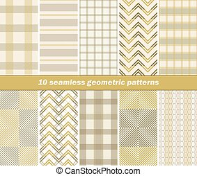 10 seamless geometric patterns - Set of 10 various seamless...