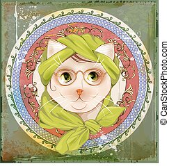 portrait of the cat with glasses in the art nouveau style