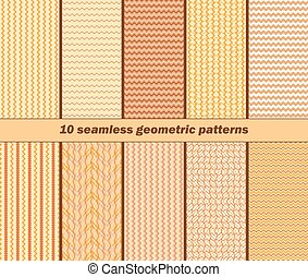 10 seamless geometric wavy patterns in autumn colors - Set...