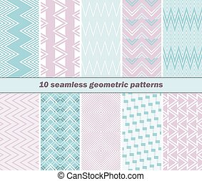 10 seamless geometric patterns in pink and blue colors - Set...