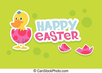 Duck New Born Egg Happy Easter Holiday Banner Colorful...