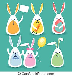 Rabbits Group Hold Banner, Colorful Eggs, Balloon, Carrot Happy Easter Holiday Set Collection
