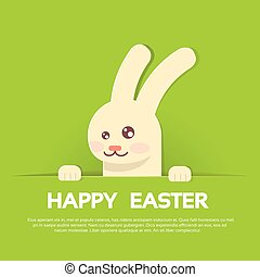 Rabbit Bunny Happy Easter Holiday Banner Greeting Card Green Background