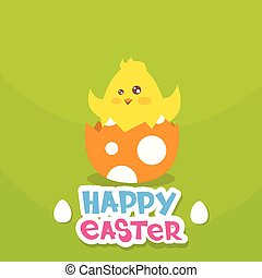Easter Holiday Greeting Card With New Born Chicken Egg Flat