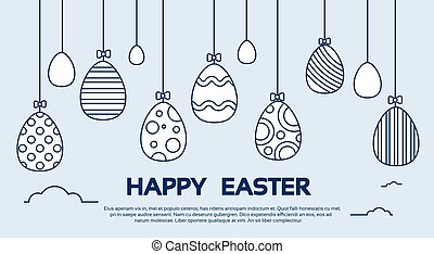 Eggs Easter Holiday Decorated Hanging Thin Line