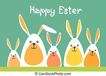 Rabbits Group Happy Easter Holiday Greeting Card