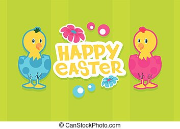 Chicken Eggs Happy Easter Holiday Banner Colorful Greeting...