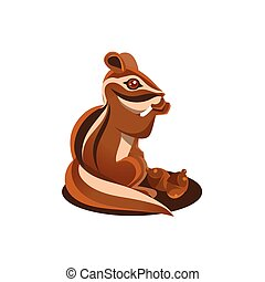 Chipmunk Eating Acorn Simple Flat Vector Illustration On...