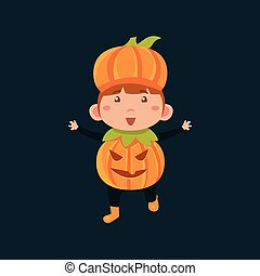 Boy In Jack Pumpkinhead Haloween Disguise Funny Flat Vector...