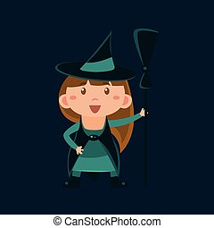 Girl In Wizard Of Oz Witch Haloween Disguise Funny Flat...