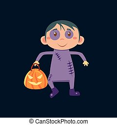 Boy In Zombie Haloween Disguise Funny Flat Vector...