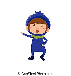 Kid In Blueberry Costume. Vector Illustration - Cute Kid In...