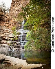 Botswana Waterfall - Waterfall in Moremi Gorge, Botswana,...