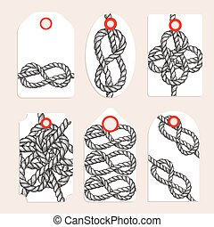 Vintage tags with eternity eight knot