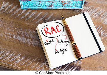 Business Acronym RAC as Record, Analyze, Change - Retro...