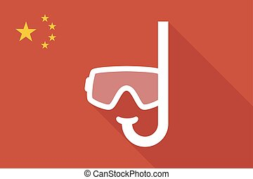 China long shadow flag with a diving goggles