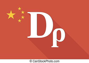 China long shadow flag with a drachma currency sign -...