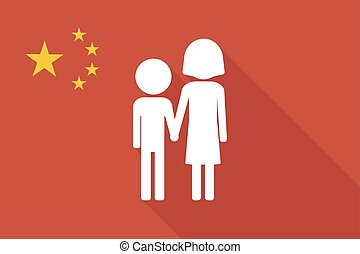 China long shadow flag with a childhood pictogram -...