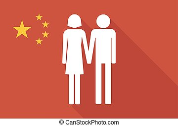 China long shadow flag with a heterosexual couple pictogram...