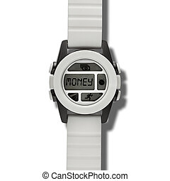 Wristwatch with text MONEY - White modern wristwatch with...