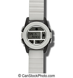 Time is money - White modern wristwatch with many buttons...