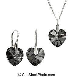 Jewelry set with Swarovski stones - Black love shape...