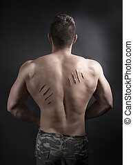 Sexy Male Body with Scratches from nails on his Back.