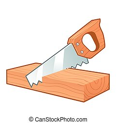 Saw cutting a piece of wood, isolated on white