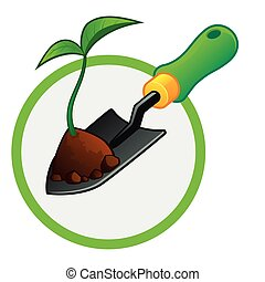 Spade - small gardening shovel with a plant and some soil
