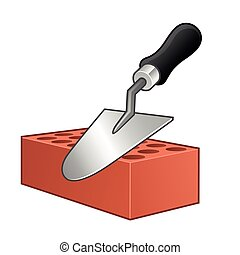Trowel - Vector of a trowel and brick on white background