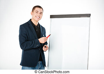 Businessman presenting something on whiteboard - Smiling...