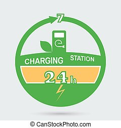 Auto charging station emblem. Round the clock charging...