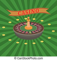 Casino set. Roulette and dollar coins on a radiant...