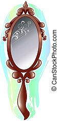 mirror - Illustration of brown mirror with glasses and...