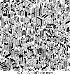 City Seamless Pattern is hand drawing of different building...