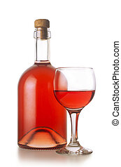 Small rose wine bottle with glass