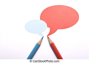 Two pencils have a conversation - Horizontal top view of a...